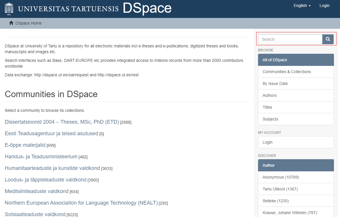 DSpace main page
