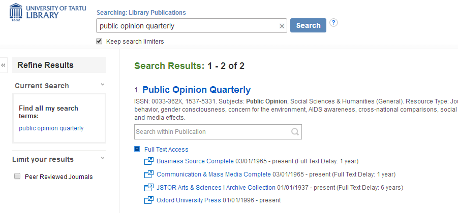The portal of e-journals and e-books | Databases and e-journals