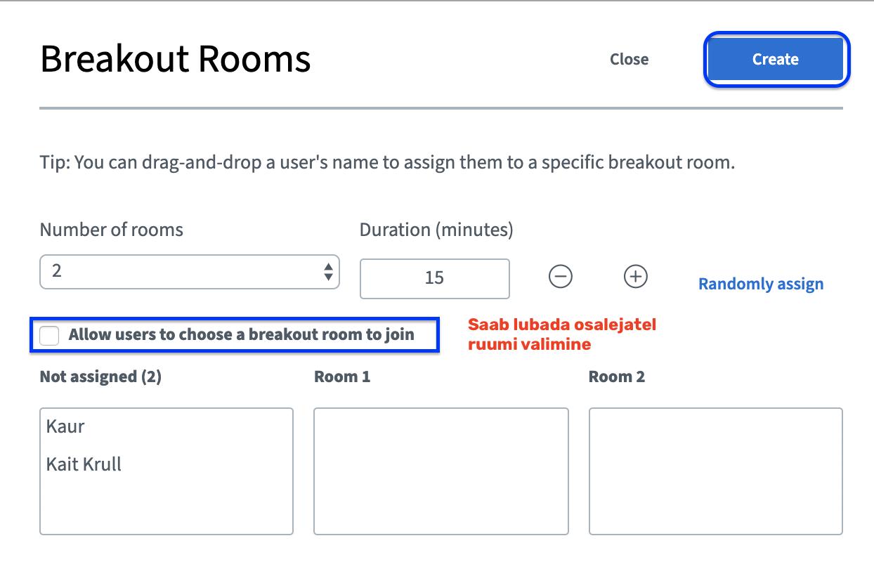 Breakout rooms settings
