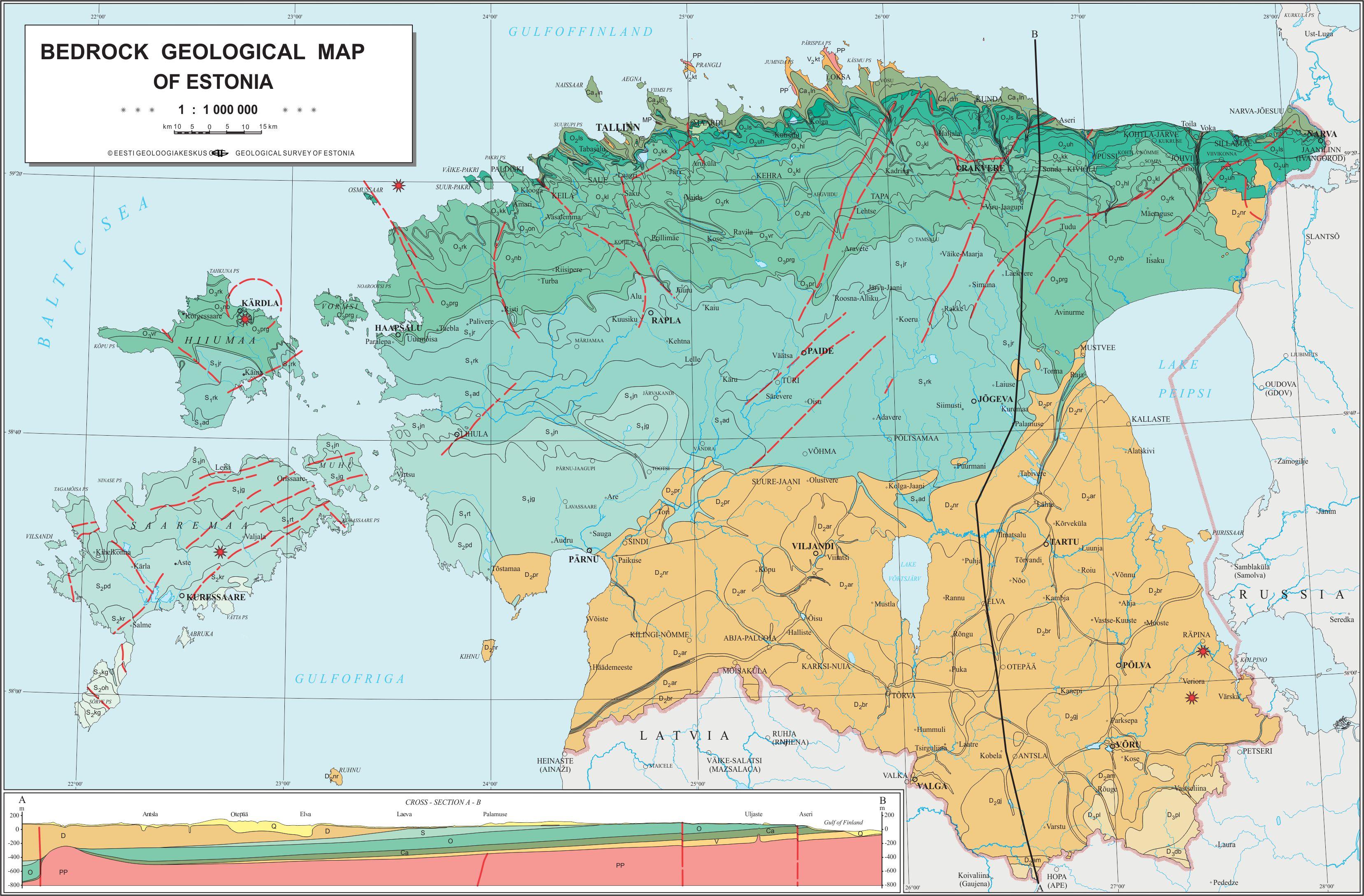 Eesti aluspõhja kaart (Eesti Geoloogiakeskus, 2007).