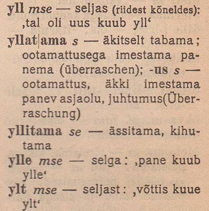 Johannes Aavik, Uute ja vähem tuntud sõnade sõnastik, 1921, lk 142 (väljalõige; mse = murretes ja soome keeles kasutatav sõna))
