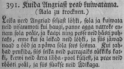 Sama retsept Lithanderi tõlkes, Köki ja Kokka Ramat (1781)