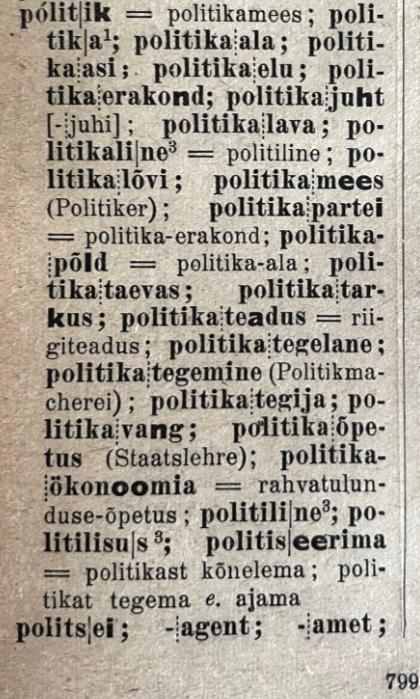 poliitika J. V. Veski Eesti õigekeelsuse-sõnaraamatus (II köide, lk 799)