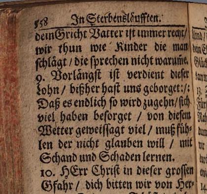 Salm, mille eestikeeles tõlkes esineb SAAJELDAMA, tõlgituna ülemsaksa keelde. (Vollständiges Und Neu-eingerichtetes Marburger Gesangbuch Zur übung der Gottseligkeit. Marburg, 1681)