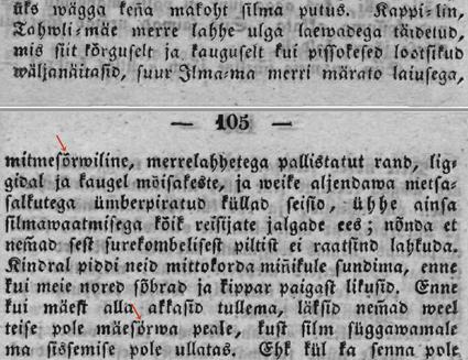 Kreutzwald, Ma- ja Merre-piltid, 1850 (väljalõige)