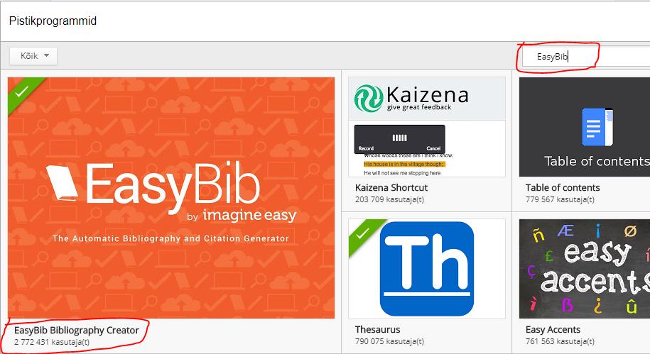 Easybib это приложение в документах Google Viitamiseabc
